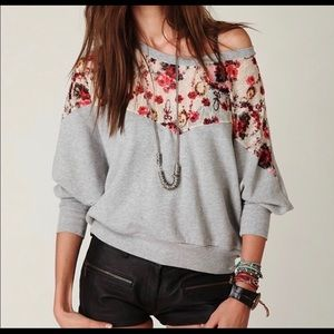 Free People Lace Floral Oversized Sweater Top XS